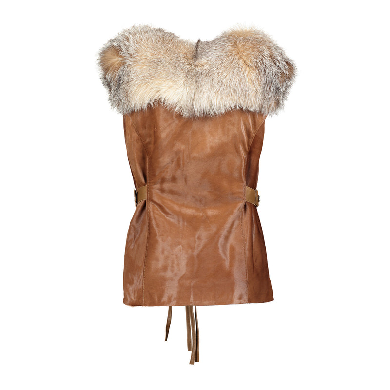 ALISSON Calf leather vest with fox