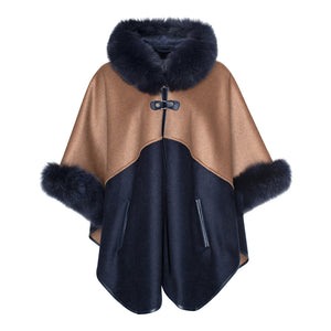 MONIQUE Cashmere hooded cape with fox fur trims