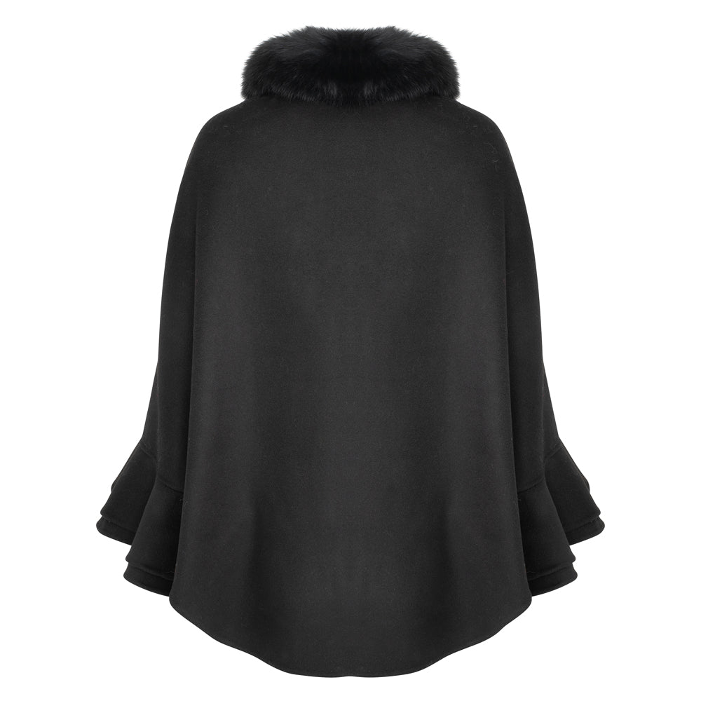 ERICA Cashmere ruffle cape with fox trim