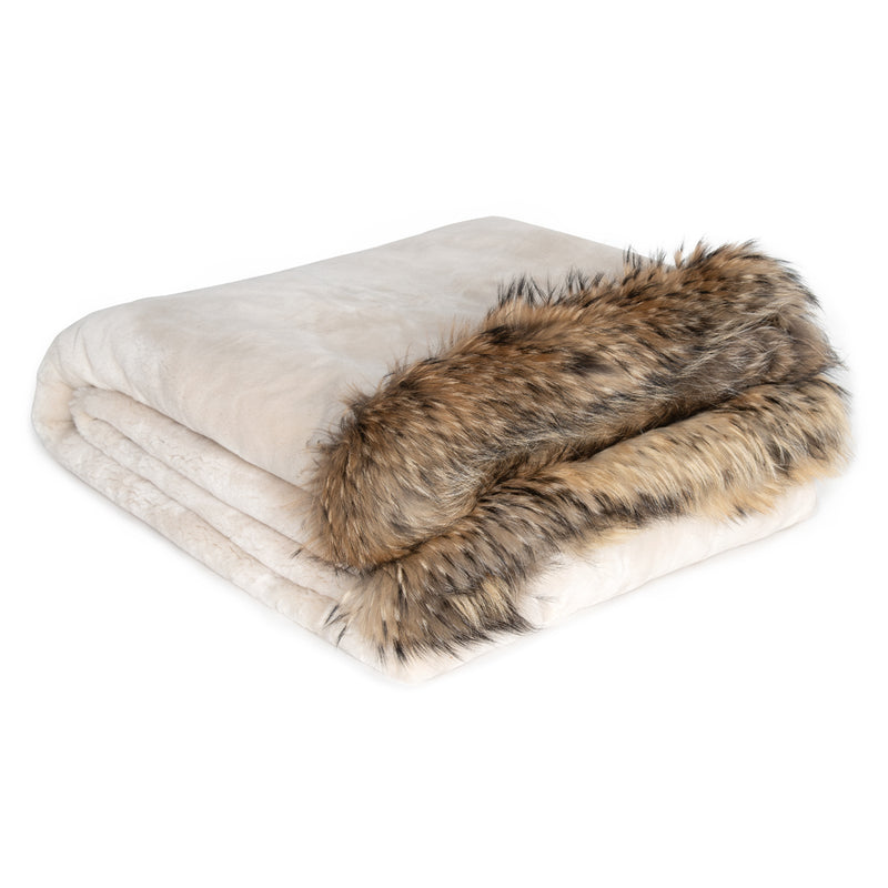 SHARON Sheared beaver fur blanket with trim