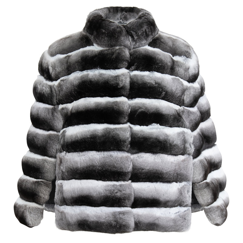 BELLA Mockneck chinchilla fur cape