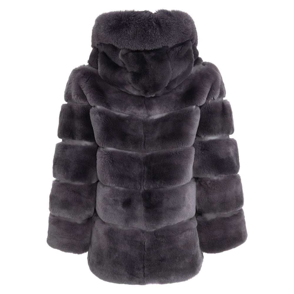LYNN Rex rabbit jacket with fox trim hood