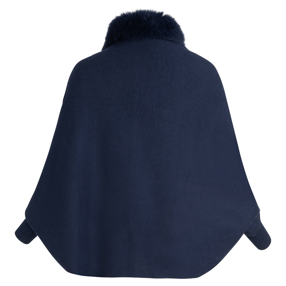SONIA Knitted cape with front trim and cuff