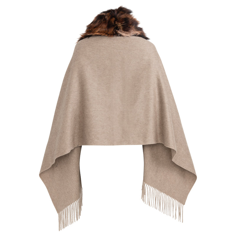 SHELLY Shawl with front fox trim