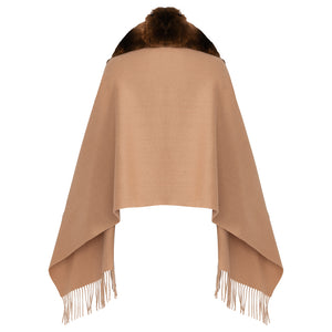 FANCY Chinchilla Cashmere trim Cape