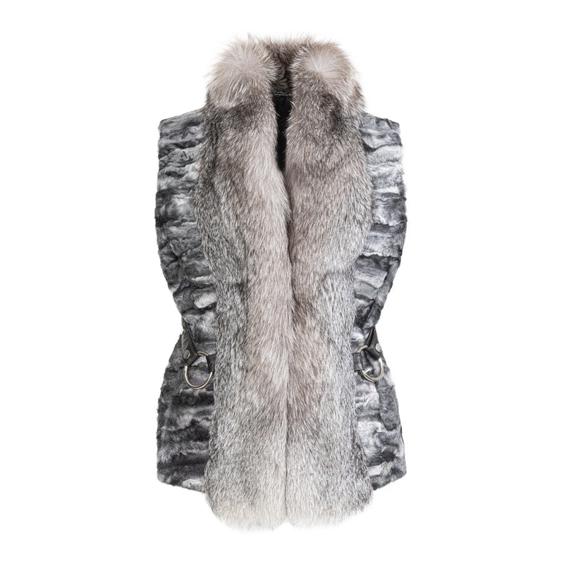 CHARLOTTE Swakara lamb vest with fox front