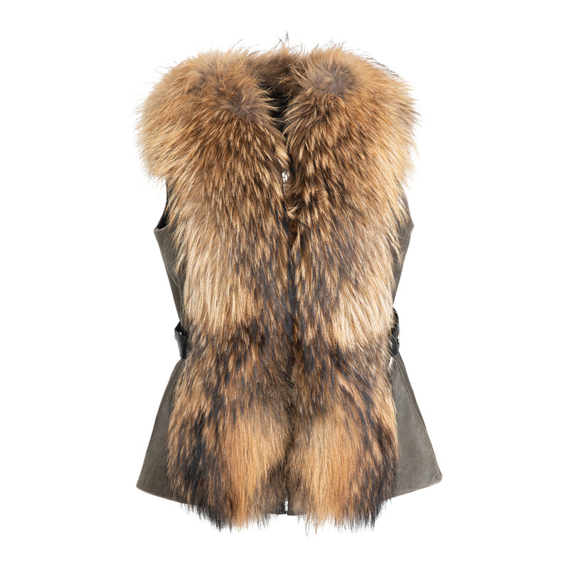 EVELYN Lamb leather vest with fox front