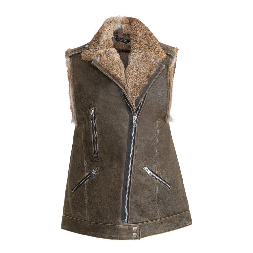VICTORIA Zipped moto leather vest