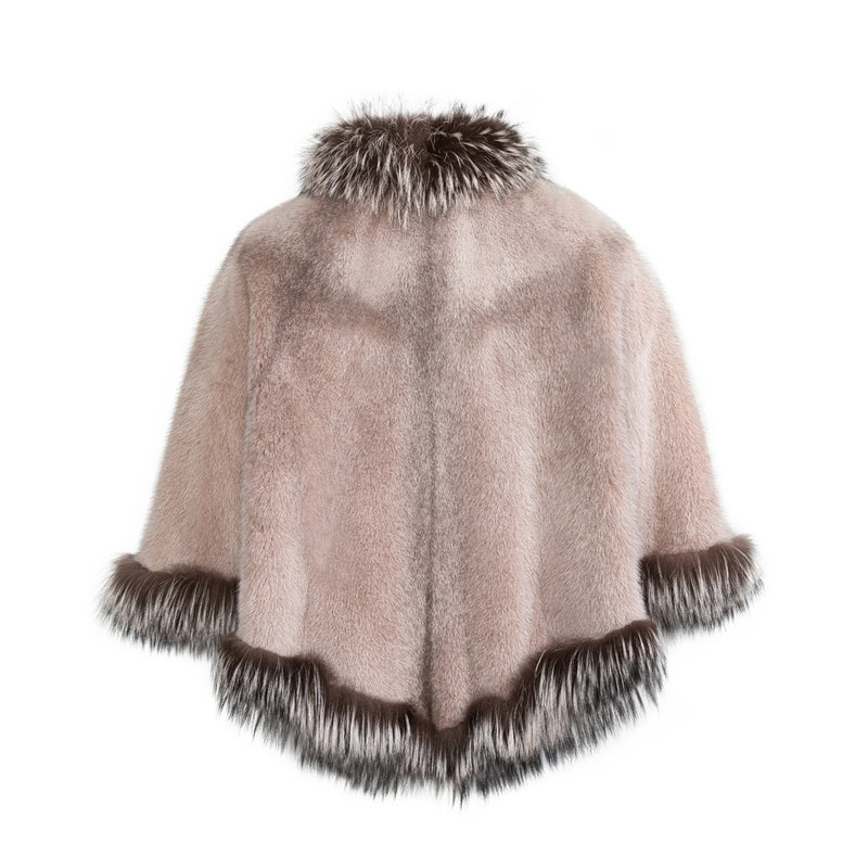 CAROLINE Mink cape with fox collar