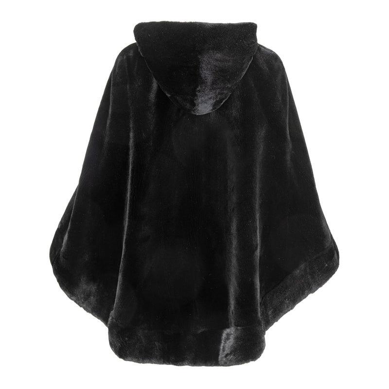 ARIANA Mink zipped hooded poncho