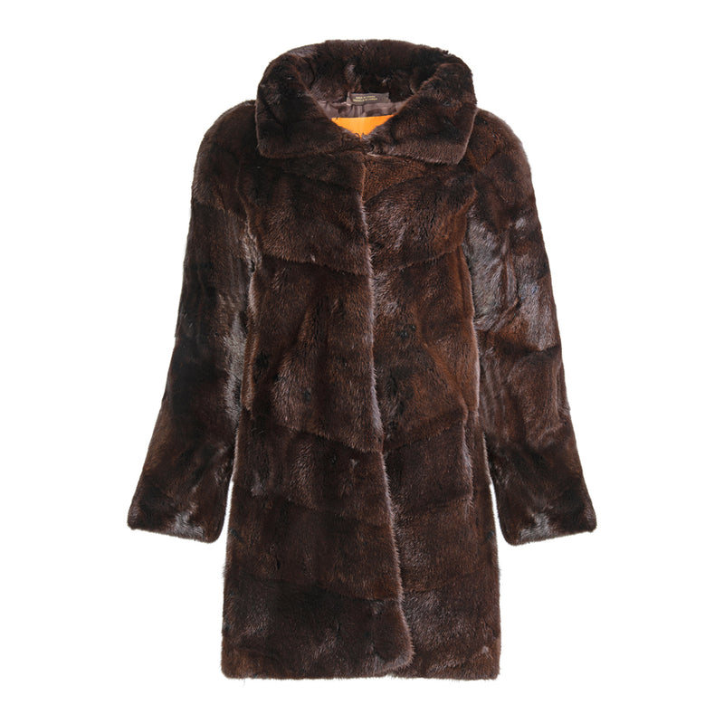 PIPER Long hair mink with horizontal details
