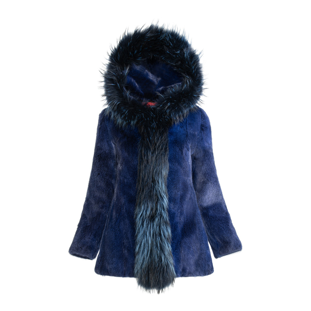 WILLOW Mink hooded jacket with fox trim