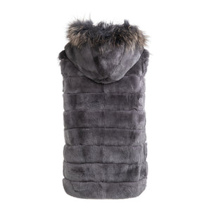 LEAH Rex rabbit hooded vest with raccon front