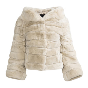 LILY Double collar rex rabbit jacket