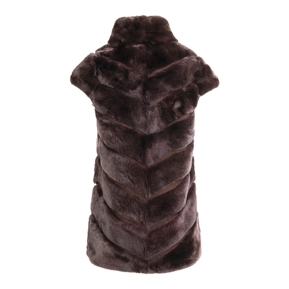 ADDISON Two tone rex rabbit vest