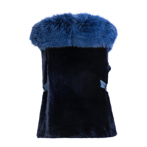 OLIVIA Sheared beaver vest with front fox