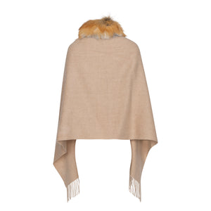 ROXY Red fox trim cashmere shawl