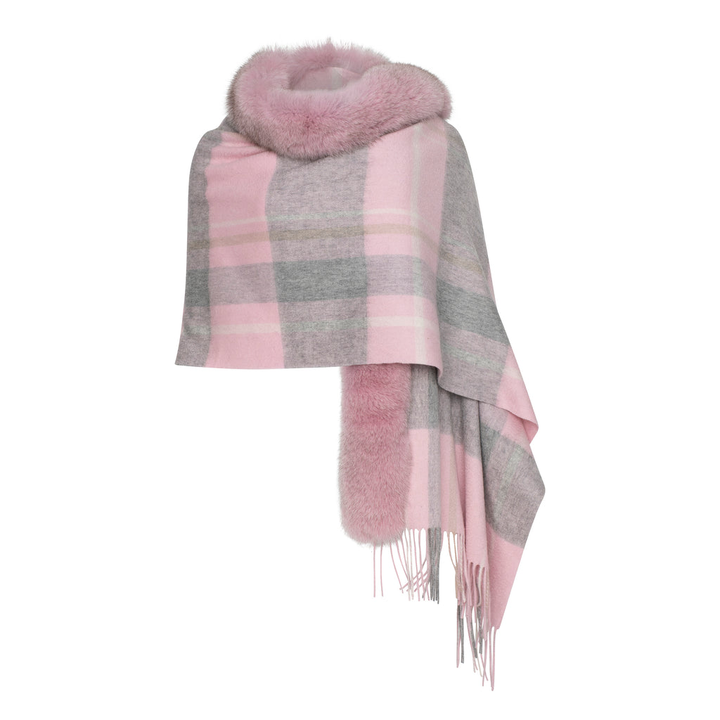SELENA Plaid shawl with premium fox trim