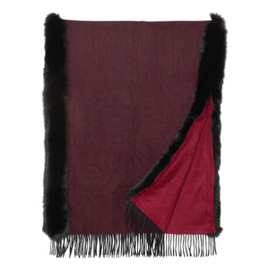 SYDNEY Shawl with double trim premium fox