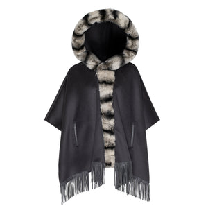 BIANCA Cashmere poncho with rex rabbit trim