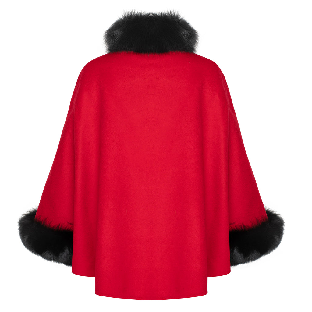 MADISON Button front fox trim cashmere cape