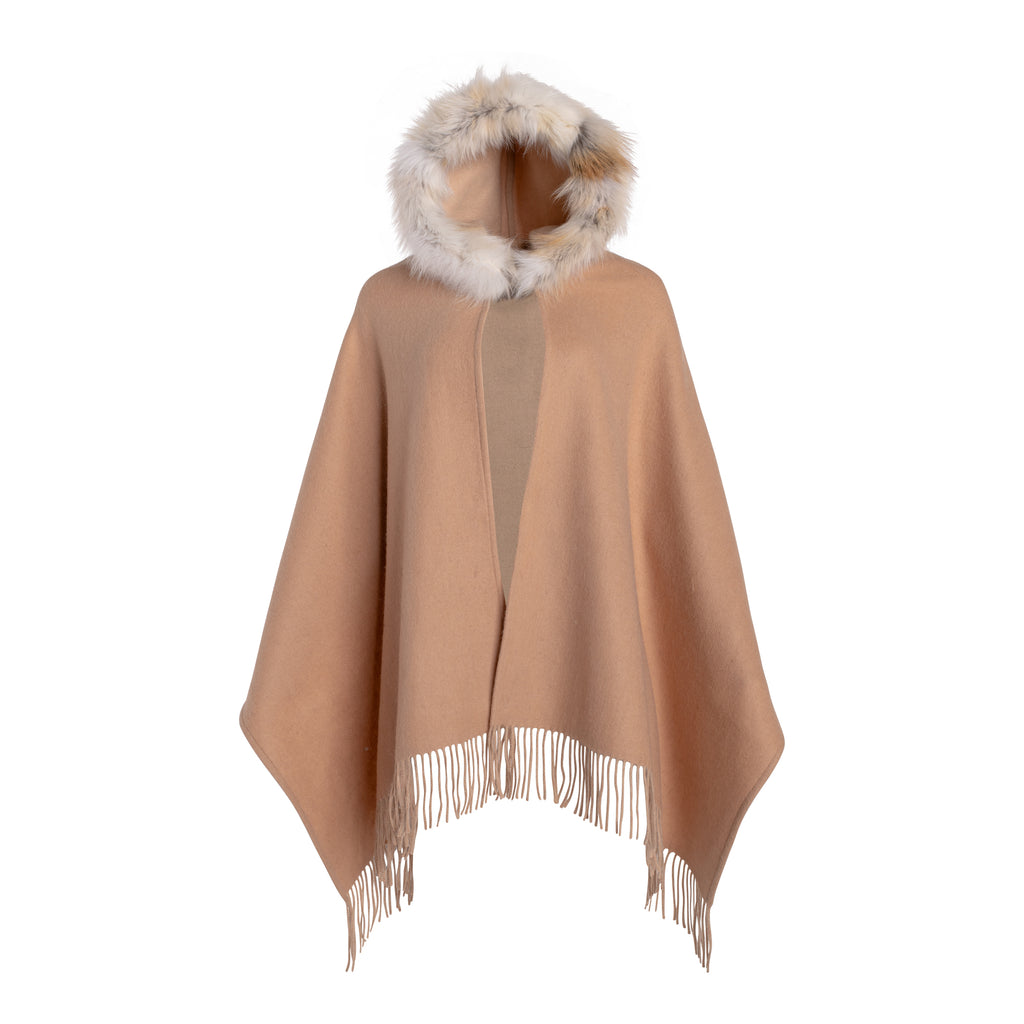 SOFIE Cashmere shawl with fox hood trim