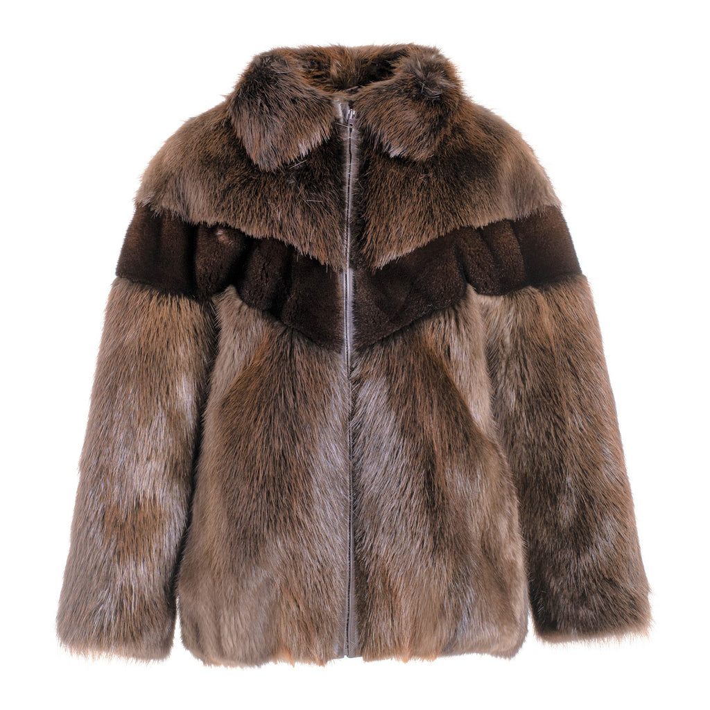 CASSIDY Long hair beaver jacket and mink insert