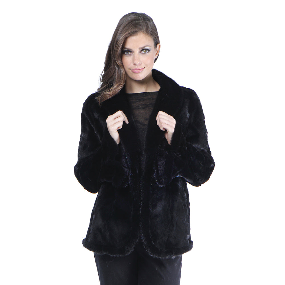 JAZ Mink section fur jacket with shawl collar