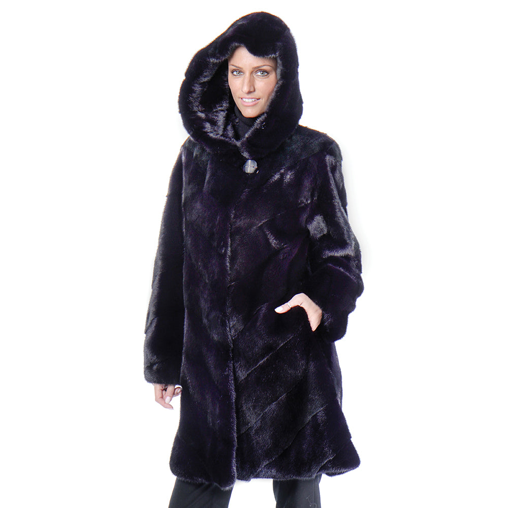 TAYLOR Hooded mink coat