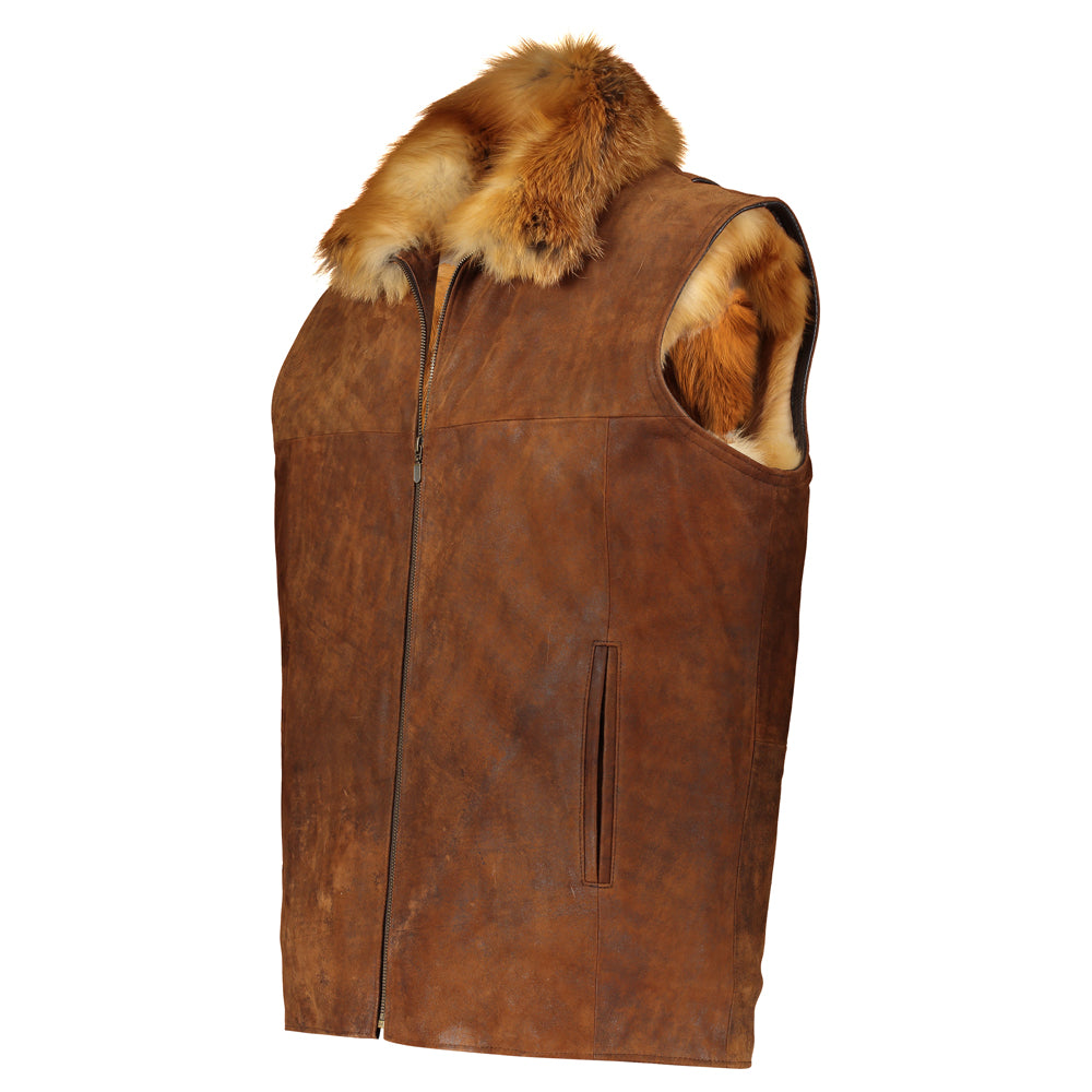 FRED Leather vest with red fox fur lining