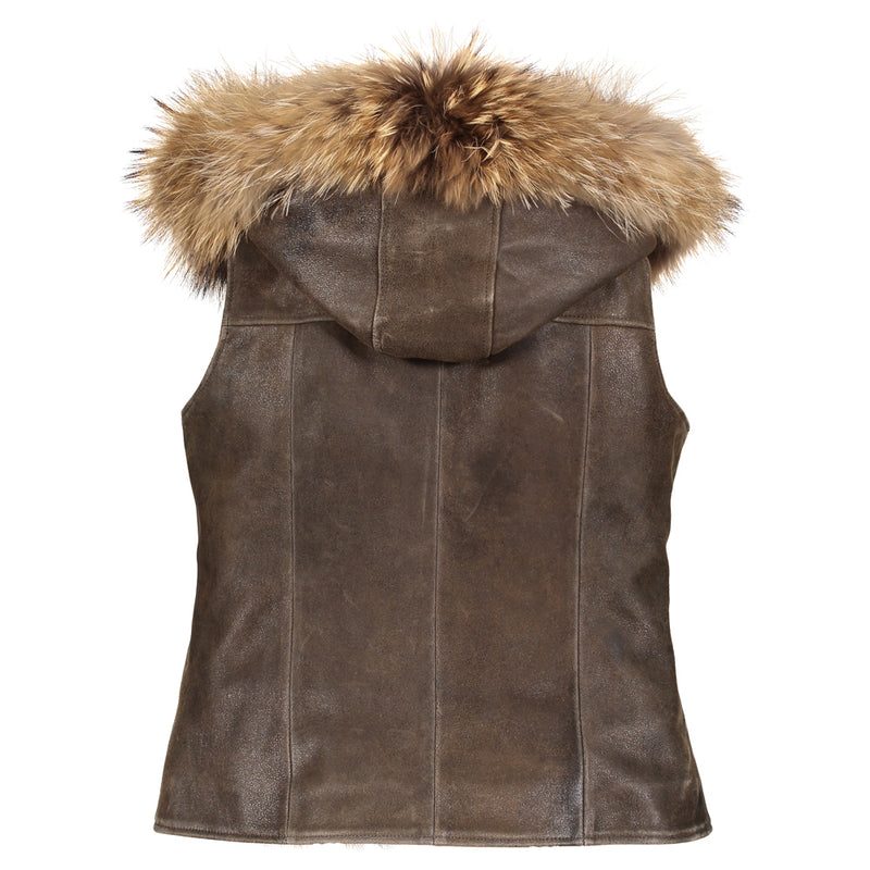 ISABELLA Lamb leather vest with hood