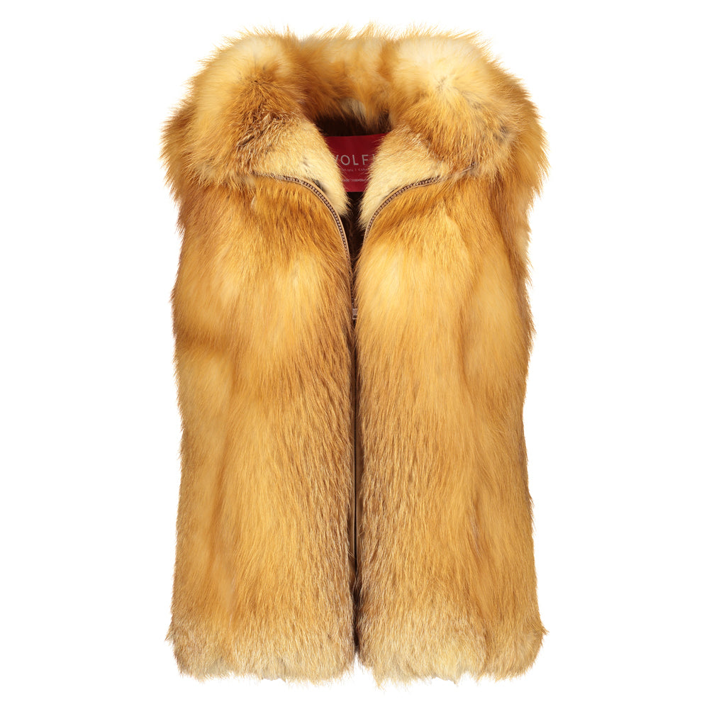 ALEXA Red fox fur zip vest