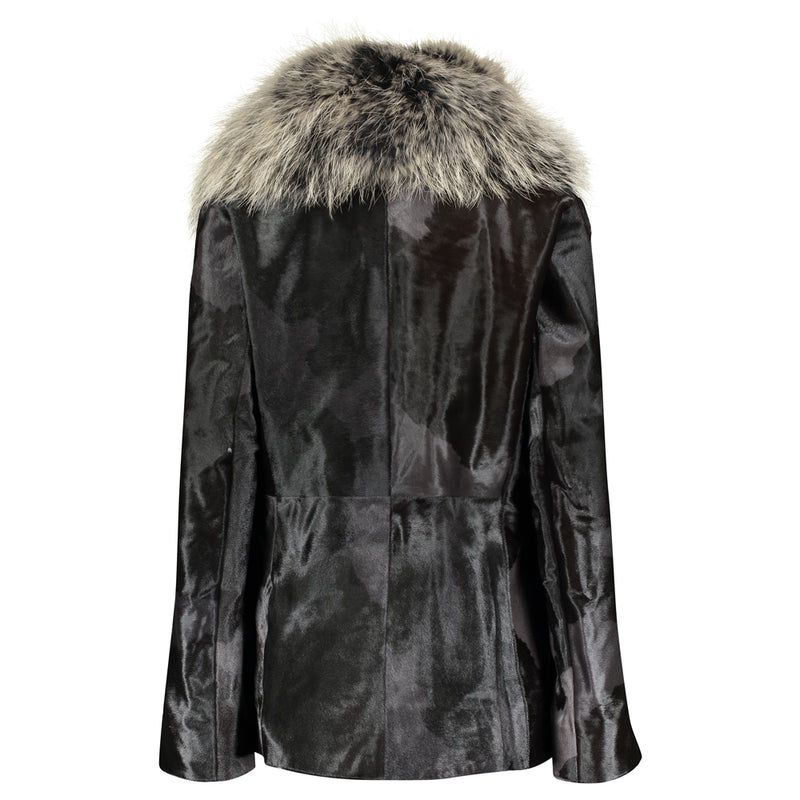 JOSEPHINE Calf leather jacket with raccoon collar