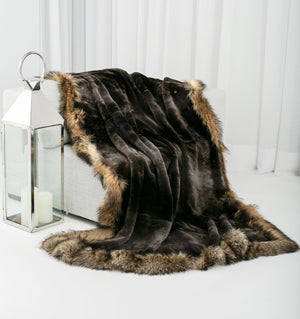 SHARI Sheared beaver fur blanket with trim