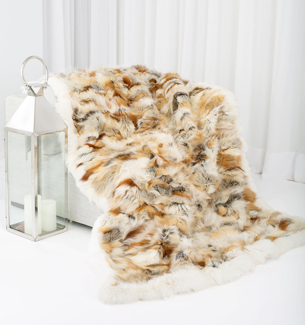 FRANKIE Fox fur blanket with fox trim
