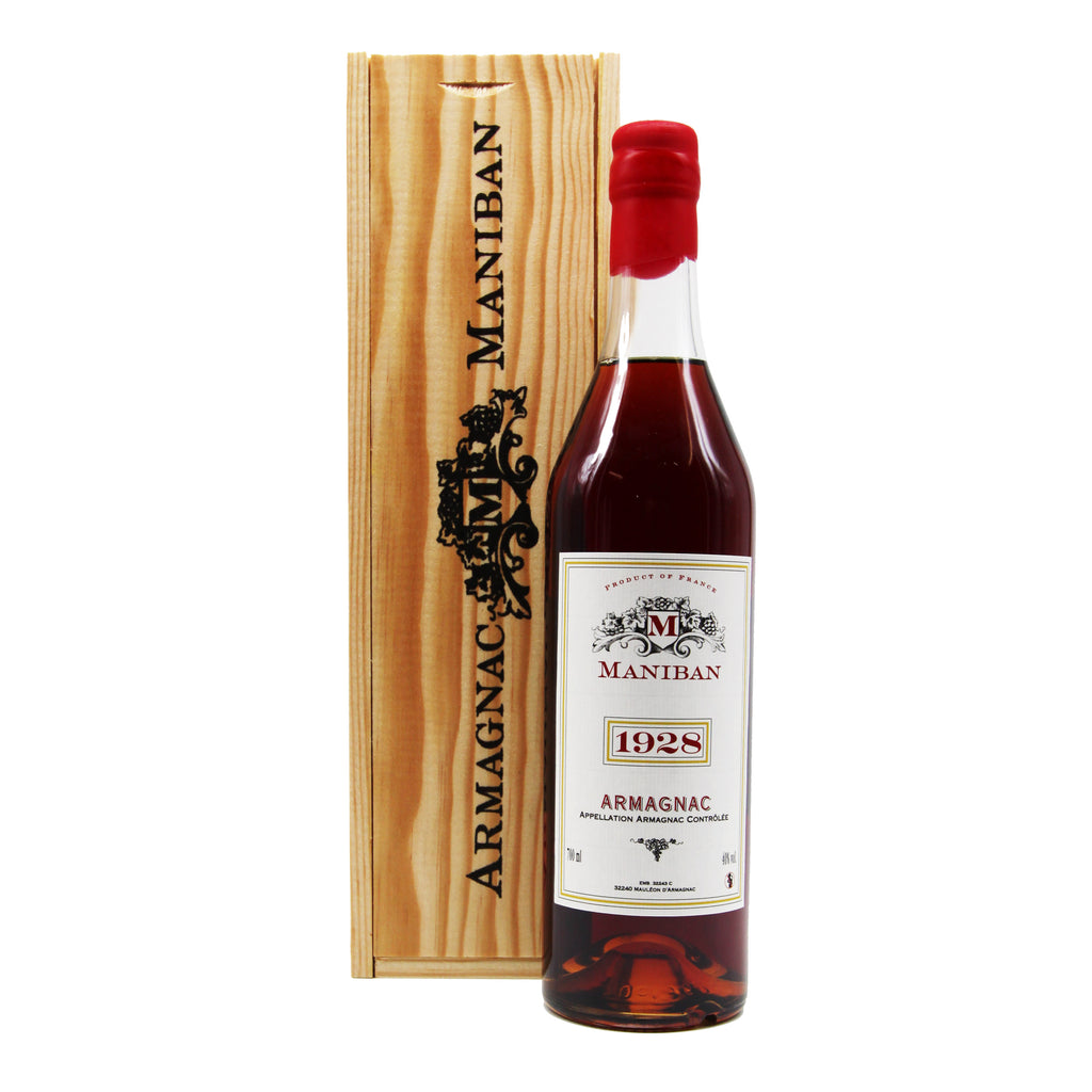 Armagnac Maniban 1928, Armagnac, France (700ml) with Wooden Giftbox