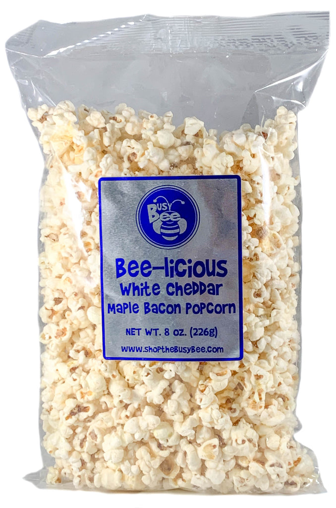 Bee-licious White Cheddar Maple Bacon Popcorn
