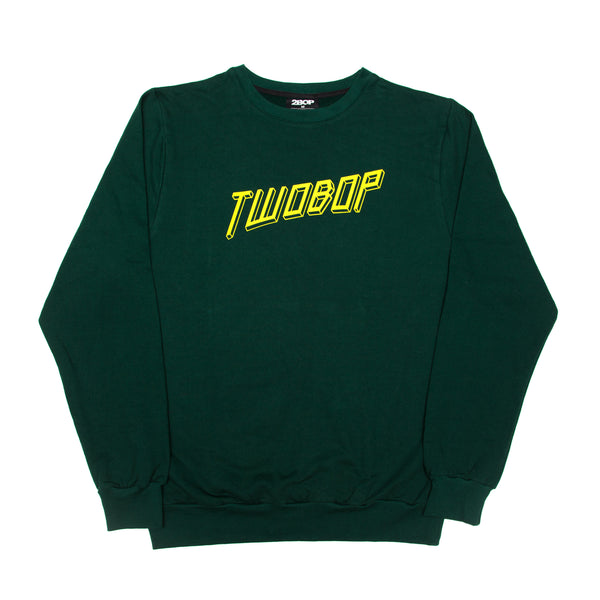 Cubism Crewneck Brushed Cotton Fleece // Bottle Green