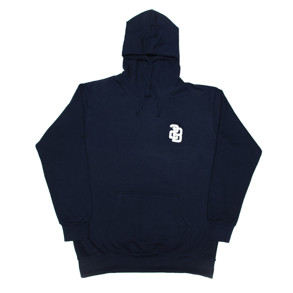 3rd Base Brushed Fleece cotton Hoody. Felt Applique' logo // Navy