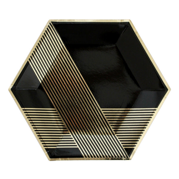 Black and Gold Hexagon Paper Plates - large
