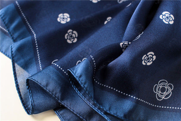 Navy blue floral hijab - shop silk hijab
