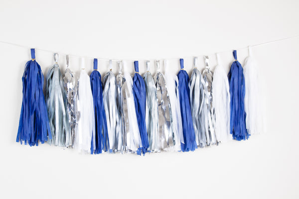 Navy white and silver tassle garland - Ramadan night tassle garland