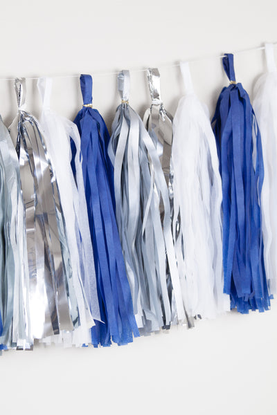 Blue white and silver tassle garland - Midnight tassle garland