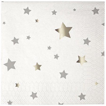 Sparkle Silver Foil Star Napkin - Islamic Party Napkins