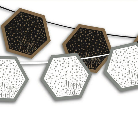 Reversible Happy Eid banner - Modern hexagon Eid garland