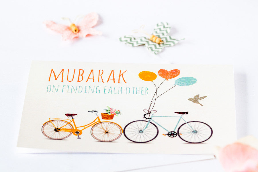 Muslim greeting card for wedding engagement or shower with a spin mubarak on finding each other greeting card for muslim couples m4hsunfo