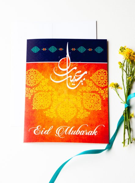 Eid Mubarak Greeting Card for Muslim Holiday
