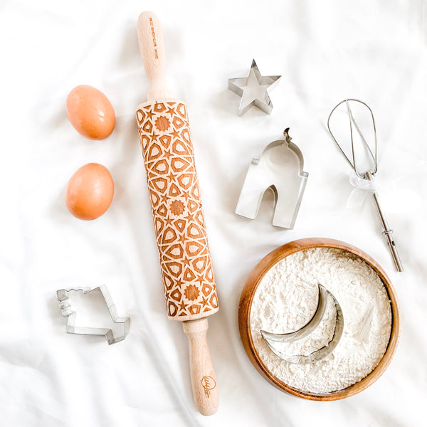 Islamic geometric pattern rolling pin