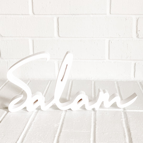 Wooden Salam word art - Modern Islamic Home Decor - WithASpin
