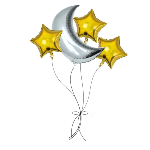 Hilal Mylar Balloon set - Moon and star balloon bouquet